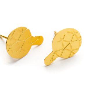 boucles d'oreilles empreinte II finition mate dorée