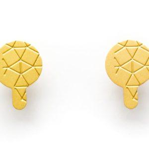 Empreinte II earrings matte gold finish front view