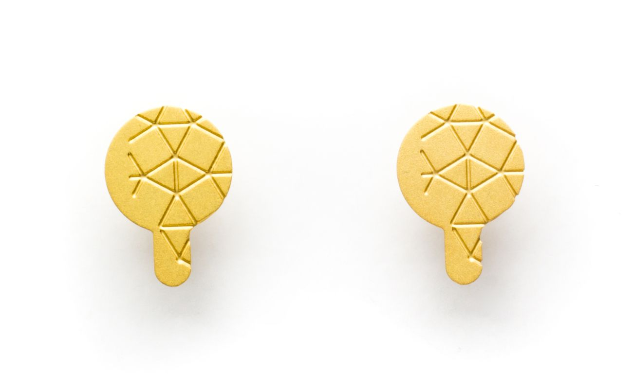 Empreinte II earrings matte gold finish front view