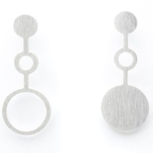 Set of earrings Ondes in matt silver finish front view