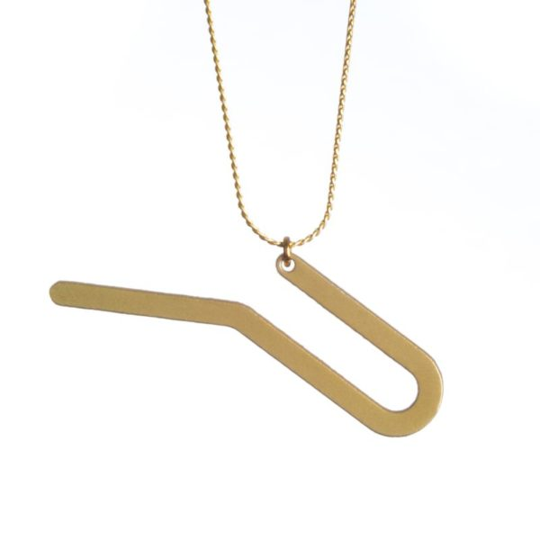 detail racine II pendant matte gold finish with chain