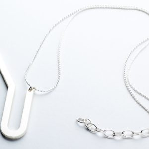 Racine II pendant, matt silver finish with chain