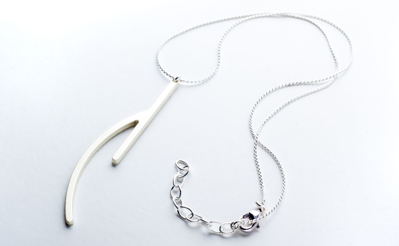 Ramification III silver matt finish pendant with chain