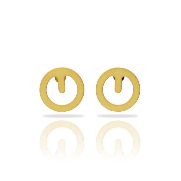 boucles d'oreilles clip finition or mat vue de face
