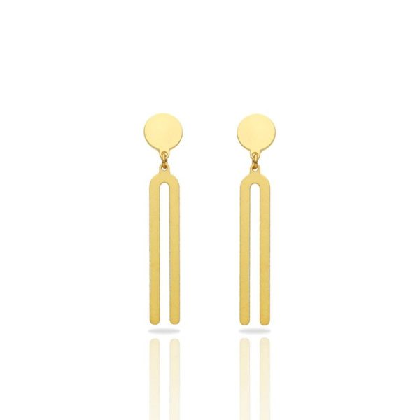 Set of earrings Diapason in brass golden finish front view